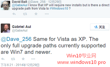 Win7/Win8.1可直接升级Win10,WinXP/Vista需全新安装