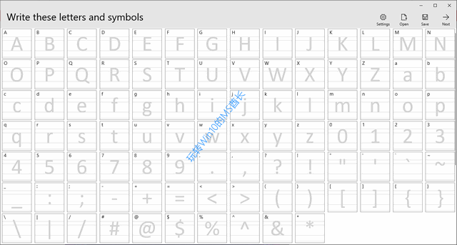 《Microsoft Font Maker》Write these letters and symbols