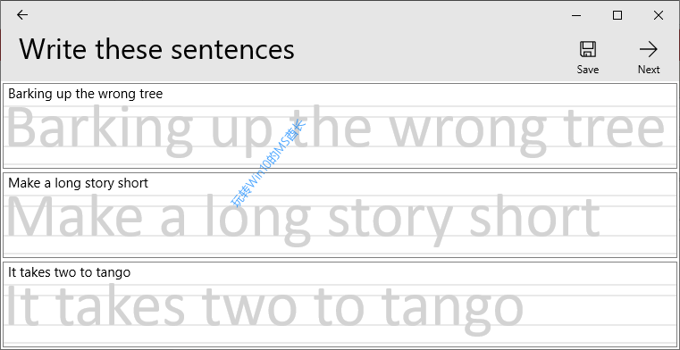 《Microsoft Font Maker》Write these sentences